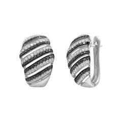 Classic Black Diamond White Gold Earrings