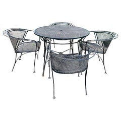 Classic Black Iron Mid-Century Modern Outdoor Dining Table and Chairs