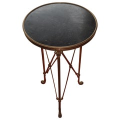 Classic Black Marble-Top Bronze Base Campaign Gueridon, France, 1970s