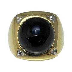 Classic Black Onyx Diamond 14 Karat Ring