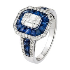 Classic Blue Sapphire Baguette Diamond Rose Gold 18K Ring for Her