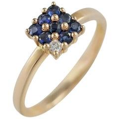 Classic Blue Sapphire Diamond Pink Gold Ring
