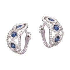 Classic Blue Sapphire Diamond White Gold Earrings