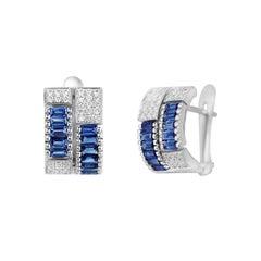 Classic Blue Sapphire Diamond White Gold Earrings