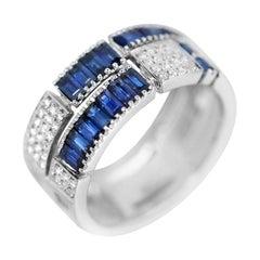 Classic Blue Sapphire Diamond White Gold Ring