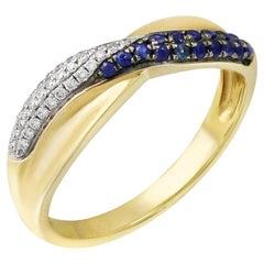 Classic Blue Sapphire Diamond Yellow Gold Ring