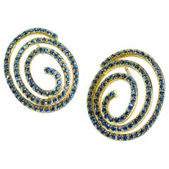 """Classic Blue Sapphire """"spiral"""" Earrings Manufactured in Yellow Gold"""