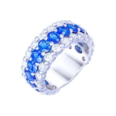 Classic Blue Sapphire White Diamond White Gold Band Ring for Her 18k