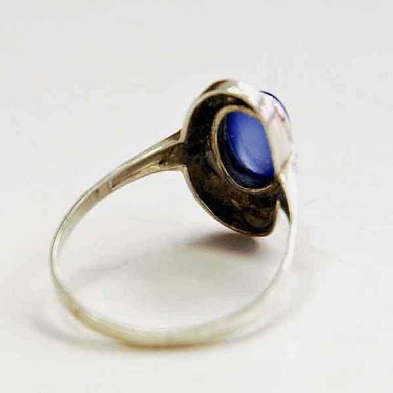 Mid-Century Modern Classic Blue Scandinavian Oval Stone Silvering, 1950s For Sale