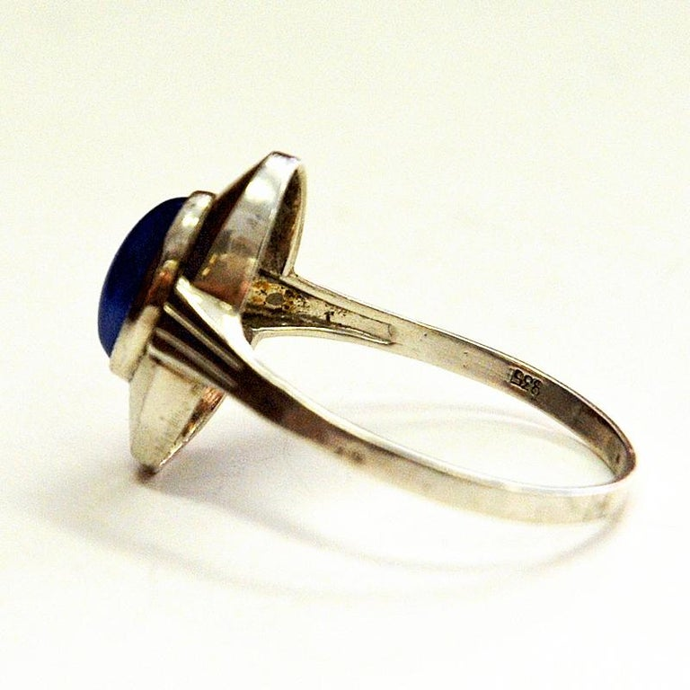 Classic Blue Scandinavian Oval Stone Silvering, 1950s In Good Condition For Sale In Stockholm, SE