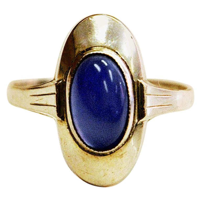 Classic Blue Scandinavian Oval Stone Silvering, 1950s