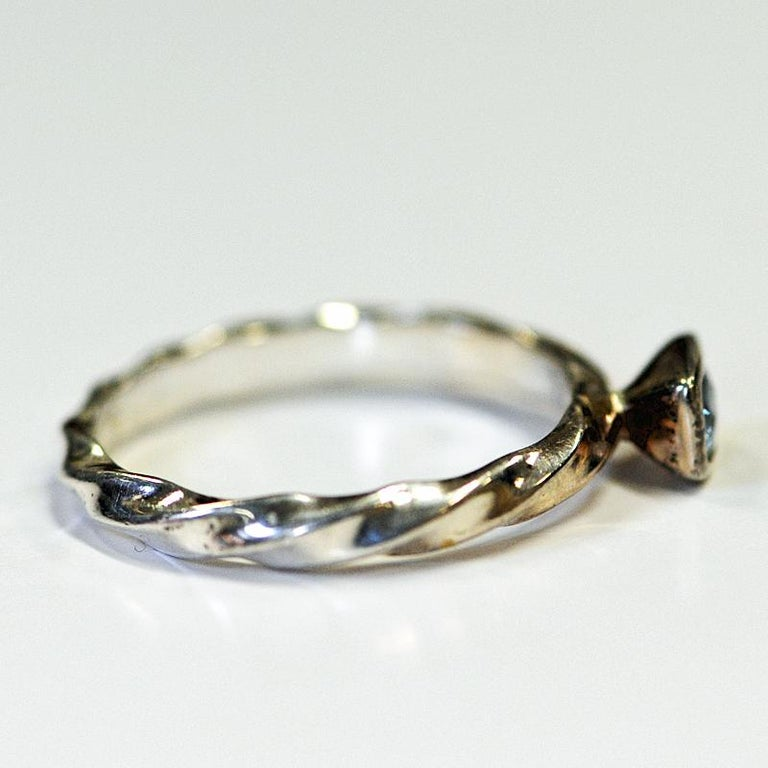 Mid-Century Modern Classic Bluestone Vintage Silvering from Spinning Jewelry, 1970s For Sale