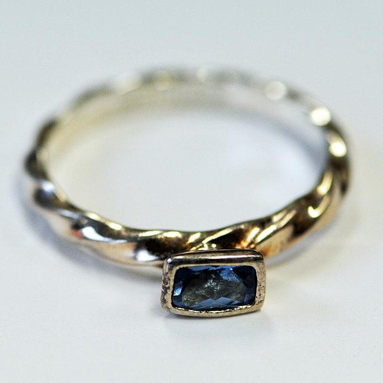 Classic Bluestone Vintage Silvering from Spinning Jewelry, 1970s In Good Condition For Sale In Stockholm, SE