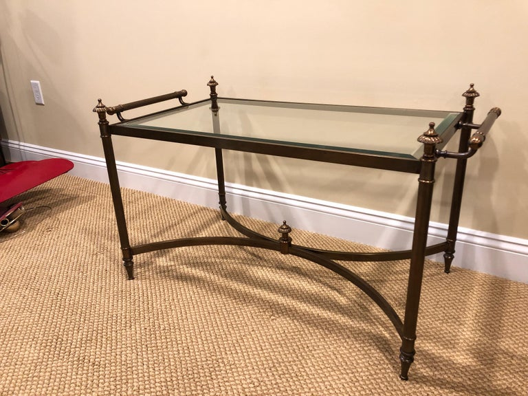 Neoclassical Classic Brass and Glass Coffee Table by LaBarge For Sale