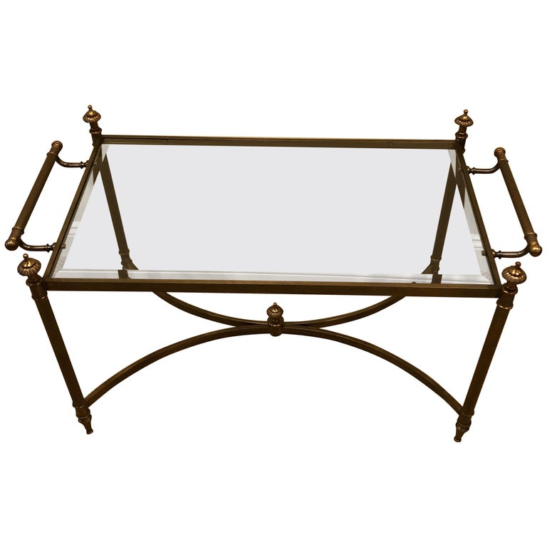 Classic Brass And Glass Coffee Table By Labarge For Sale