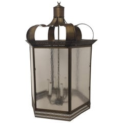 Classic Brass and Textured Glass 6 Sided Lantern