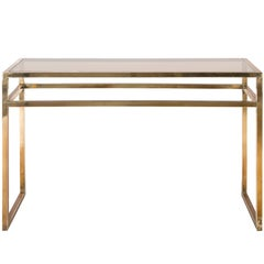 Classic Brass Console with Smoke Glass Top