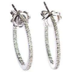 Classic Brilliant Diamond 0.29 Carat Handmade 18 Karat White Gold Hoop Earrings