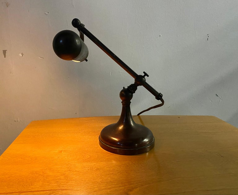 Industrial Classic Bronze Antique Piano Lamp, Fully Adjustable For Sale