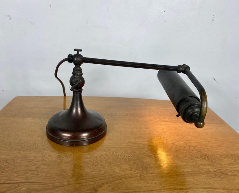 American Classic Bronze Antique Piano Lamp, Fully Adjustable For Sale