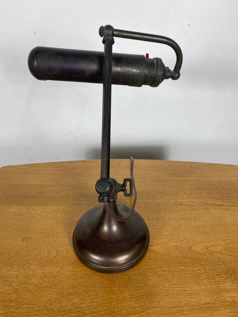 Classic Bronze Antique Piano Lamp, Fully Adjustable In Good Condition For Sale In Buffalo, NY