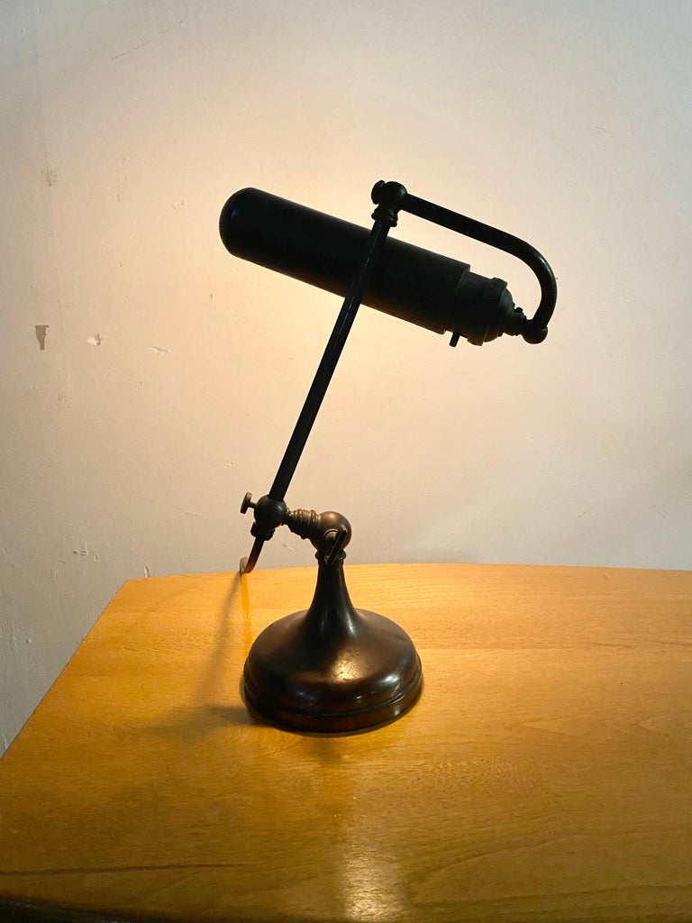Classic Bronze Antique Piano Lamp, Fully Adjustable For Sale 2