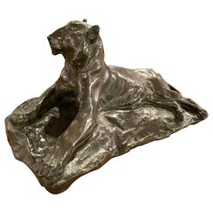 Classic Bronze Lion Statue by Josue Dupon Belgian Sculptor Art Deco