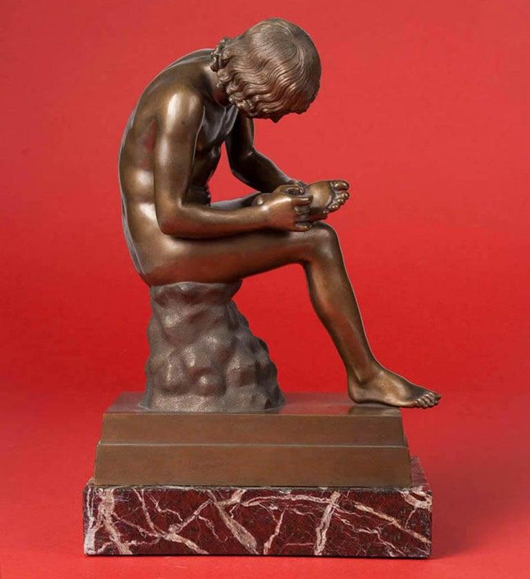 Classic Bronze Statue Spinario Casted by B. Boschetti Roma For Sale 4