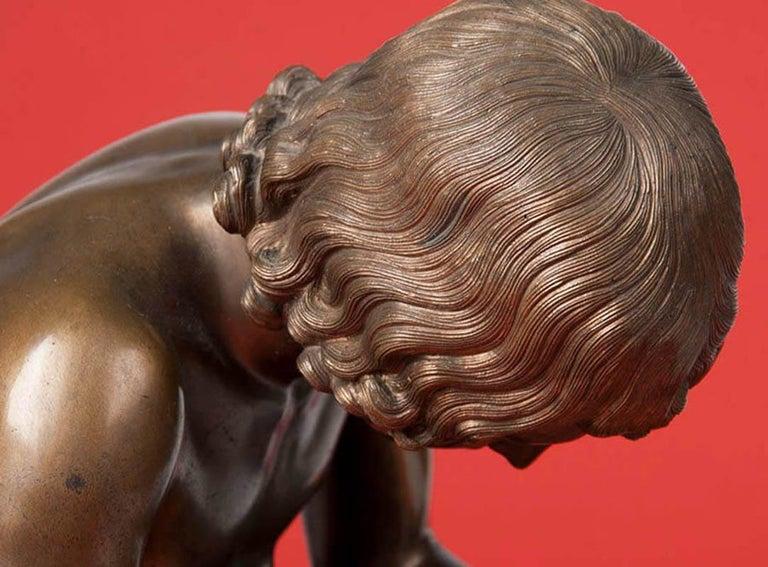 Classic Bronze Statue Spinario Casted by B. Boschetti Roma For Sale 5