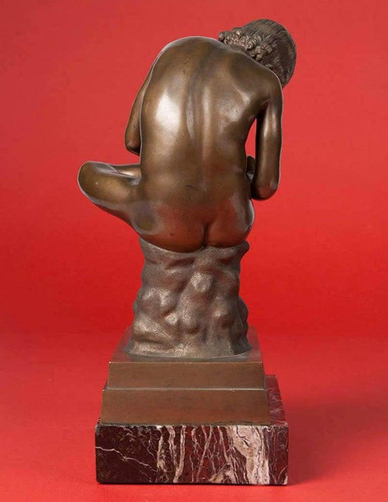Classic Bronze Statue Spinario Casted by B. Boschetti Roma For Sale 6