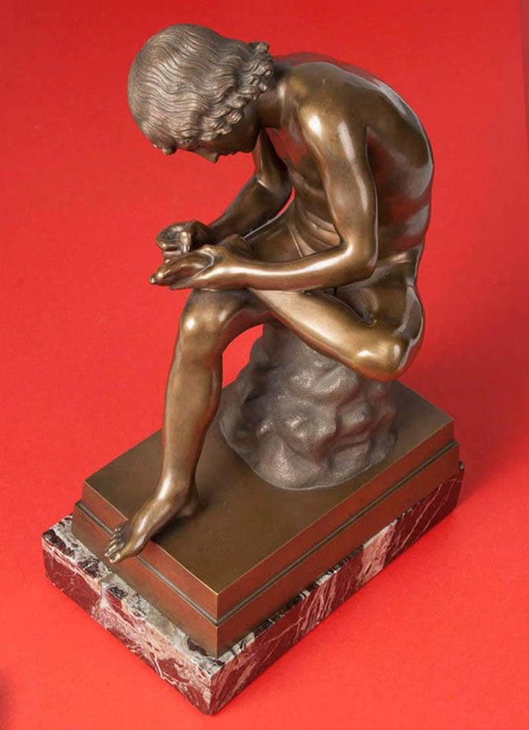Classic Bronze Statue Spinario Casted by B. Boschetti Roma For Sale 8