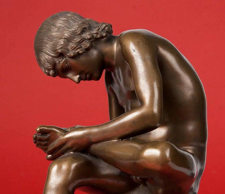Romantic Classic Bronze Statue Spinario Casted by B. Boschetti Roma For Sale
