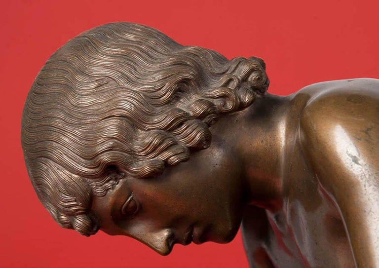 Late 19th Century Classic Bronze Statue Spinario Casted by B. Boschetti Roma For Sale