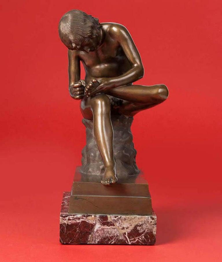 Classic Bronze Statue Spinario Casted by B. Boschetti Roma For Sale 1