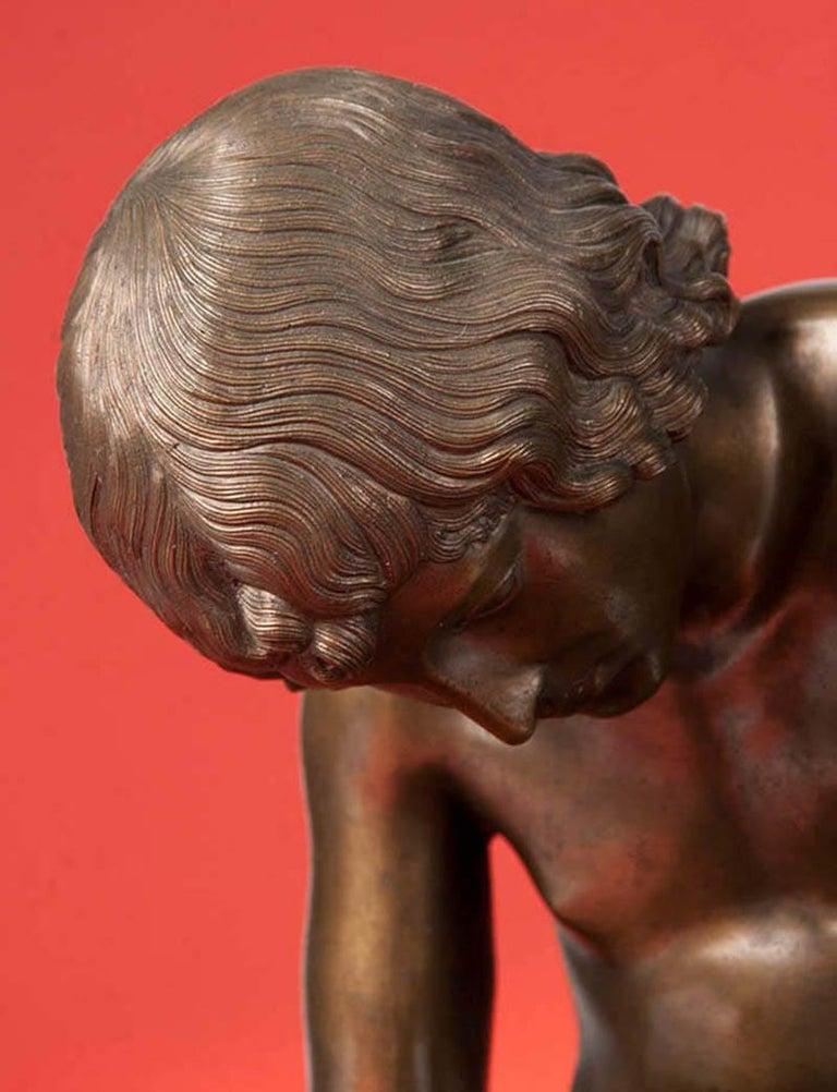 Classic Bronze Statue Spinario Casted by B. Boschetti Roma For Sale 3
