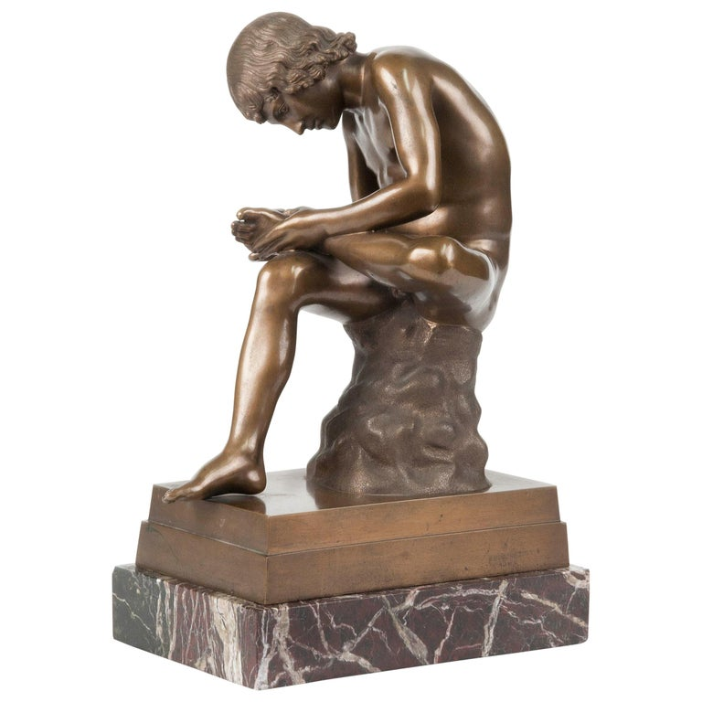 Classic Bronze Statue Spinario Casted by B. Boschetti Roma For Sale