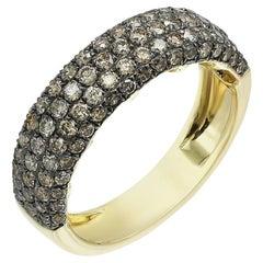 Classic Brown Diamond Yellow Gold 4-Row Band Ring