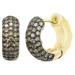 Classic Brown Diamond Yellow Gold Small Hoop Lever-Back Earrings