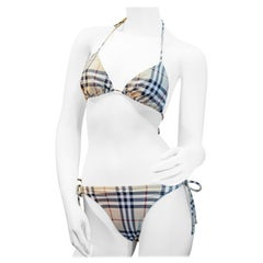 Classic Burberry Check pattern slim fit bikini size medium tall