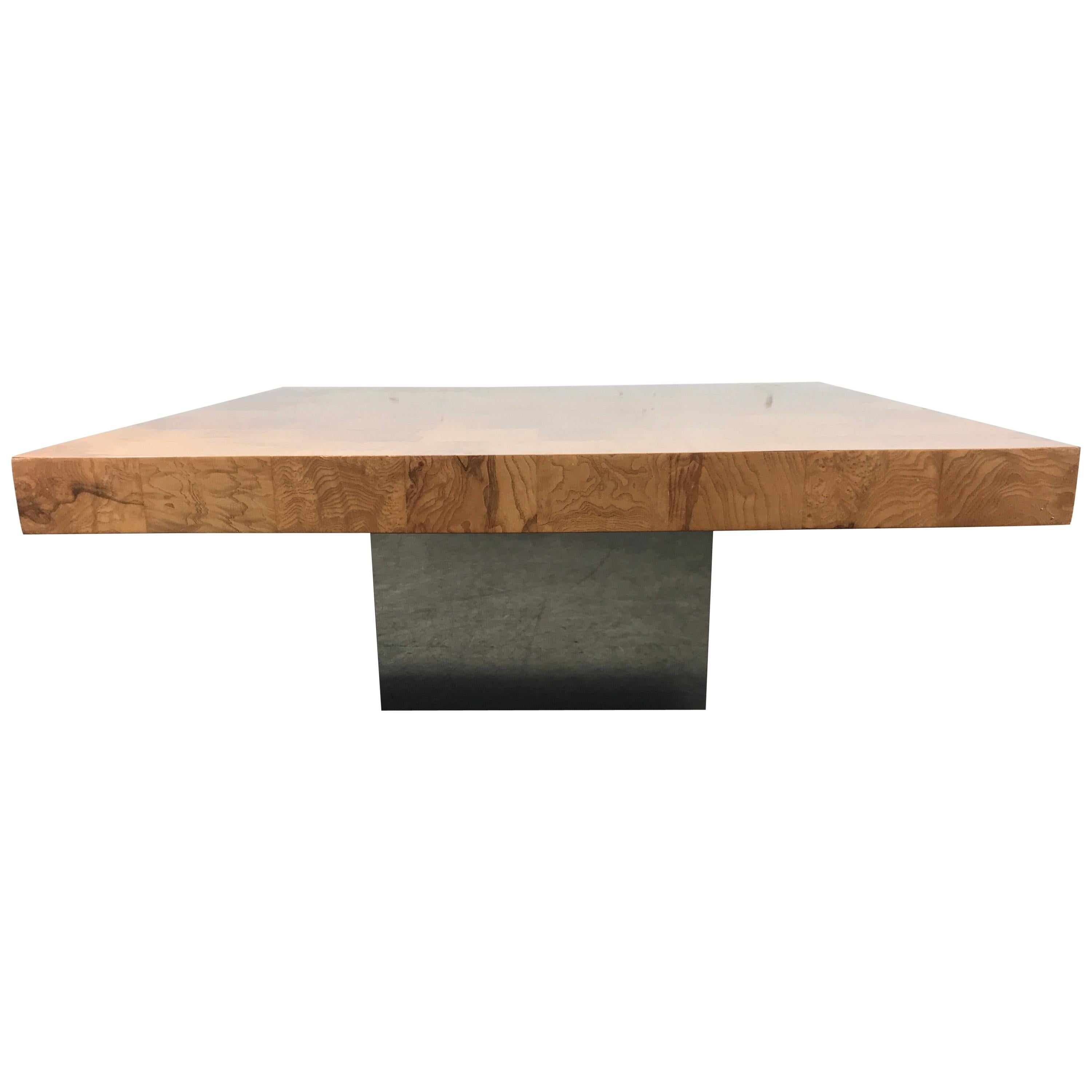 Ordinaire Classic Burl Wood And Chrome Cocktail Coffee Table Designed By Milo  Baughman For Sale
