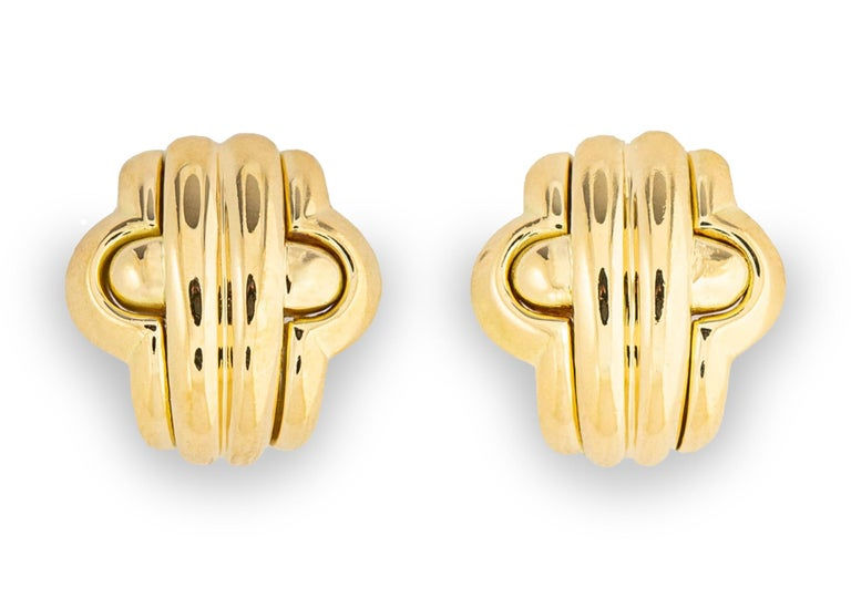 Contemporary Classic Bvlgari Gold Earrings For Sale