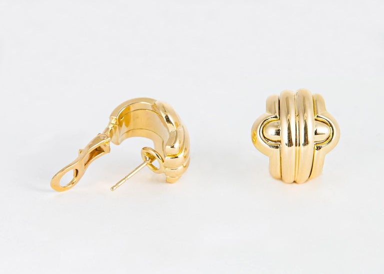 Classic Bvlgari Gold Earrings In Excellent Condition For Sale In Atlanta, GA