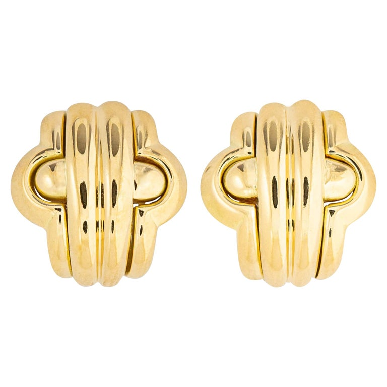Classic Bvlgari Gold Earrings For Sale