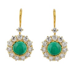 Classic Cabochon Round Emerald and Diamond Drop Earrings in 18K Yellow Gold