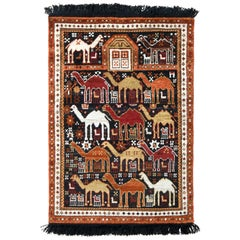 Classic Camel Motif Custom Rug in Orange Brown Caucasian Pattern by Rug & Kilim