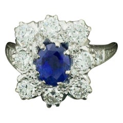 Classic Ceylon No Heat Sapphire and Diamond Ring with AGL Certification