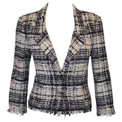 Classic Chanel Tweed Check Jacket with Fringe Hem and Cuffs