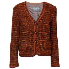 Classic Chanel Tweed Jacket with Amber-Colored Camellia Buttons