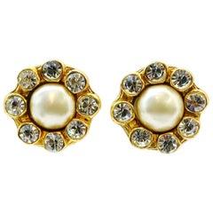 Classic Chanel Vintage Faux Pearl Earrings