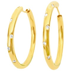 Classic Chic Diamond and Gold Hoop Earrings